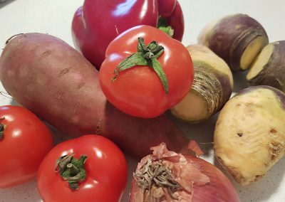 Locally sourced tomatoes, capsicum and root vegetables