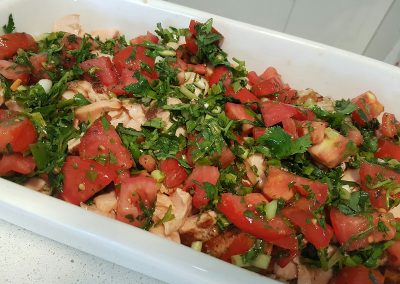 Barbequed Salmon on brown rice with tomato, shallot and basil salsa